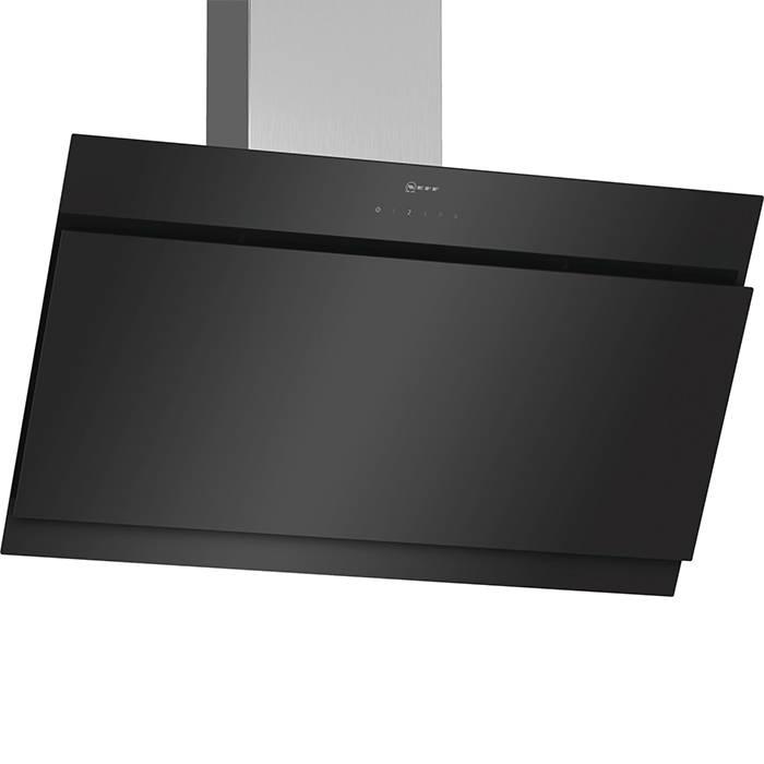 D95IHM1S0B Neff cooker hood angled black glass 1