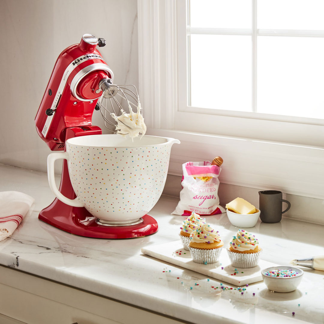 Kitchenaid confetti sprinkle ceramic bowl