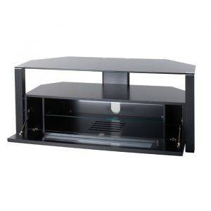 Alphason Designs ABRD1100BLK Glass Stand with enclosed and open shelves