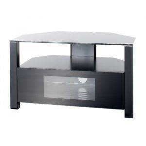 Alphason Designs ABRD800BLK Glass Stand with enclosed and open shelves
