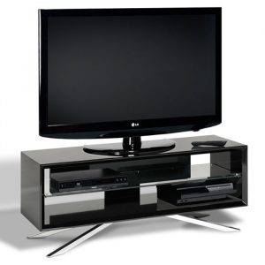 TechLink AA110B Arena Piano Black with Clear Glass Tv Stand