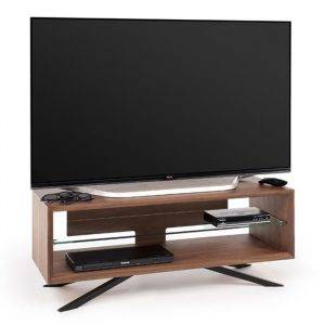 TechLink AA110W Arena Walnut with Clear Glass Tv Stand