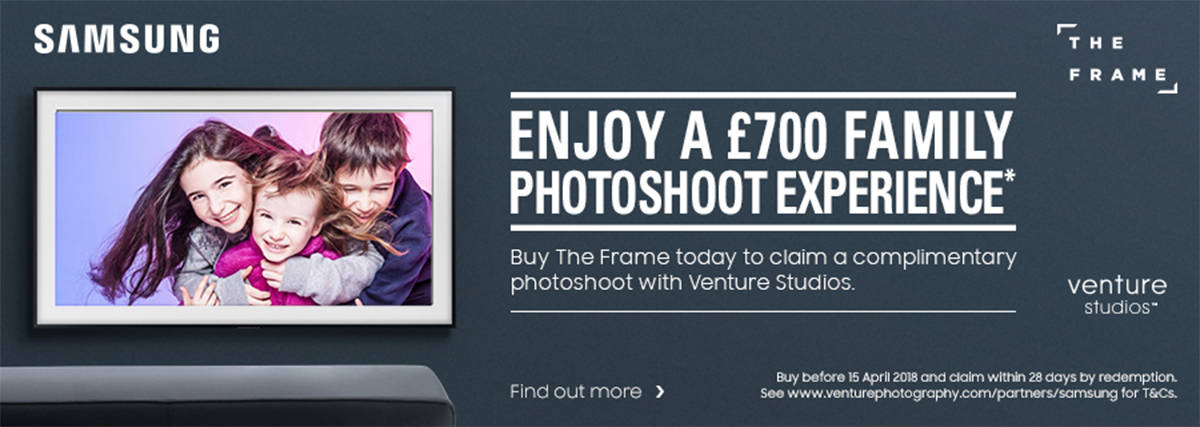 Samsung The Frame Photoshoot promotion 1200x427px