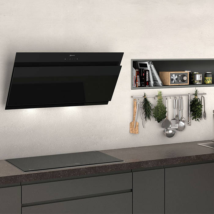Neff D95ihm1s0b Chimney Hood With Angled Glass Design 90cm