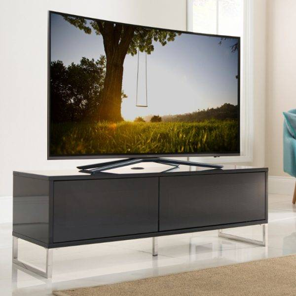 Alphason Designs ADHE1200BLK Helium TV Stand for up to 55 inch screens Black Gloss