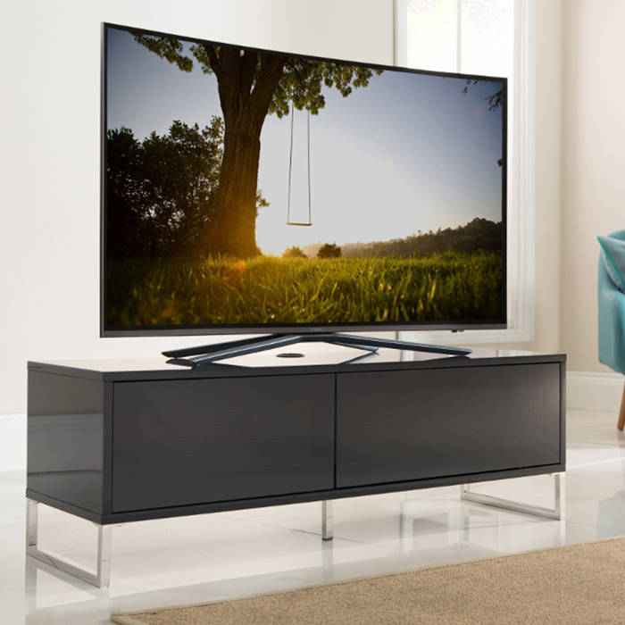 detailed look d7a01 ee678 Alphason Designs ADHE1200BLK Helium TV Stand for up to 55 inch screens  Black Gloss