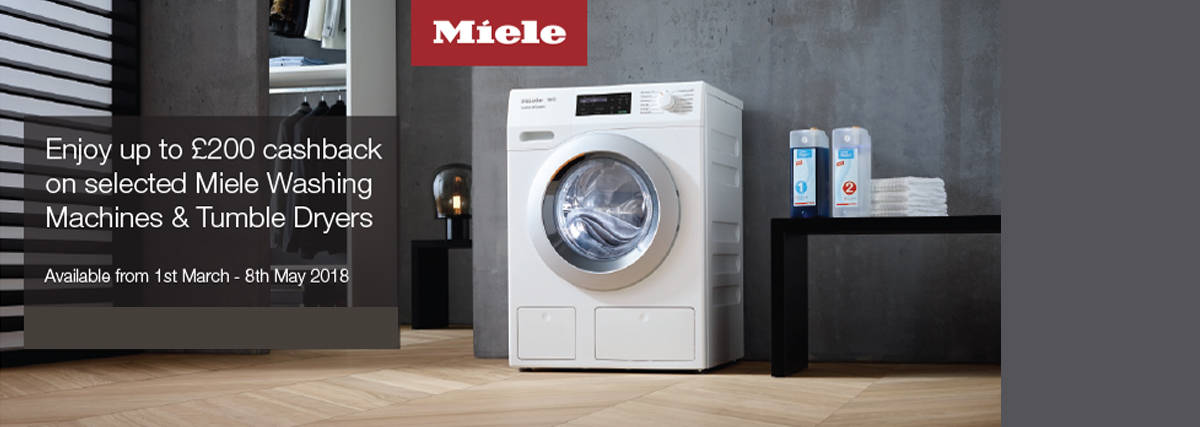 Up to 200 cashback on selected Miele laundry appliances